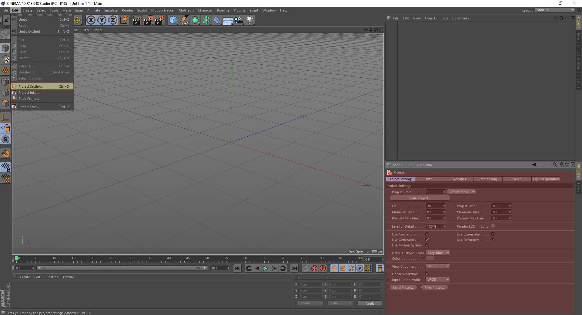 project setting در interface در cinema 4d