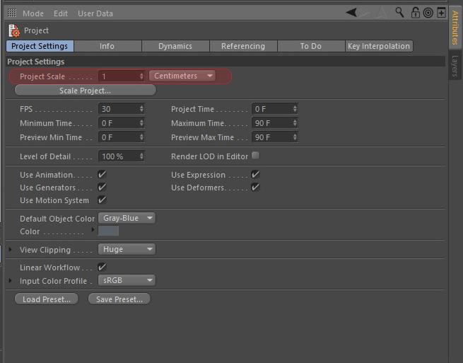بخش project scale در project setting در interface در cinema 4d