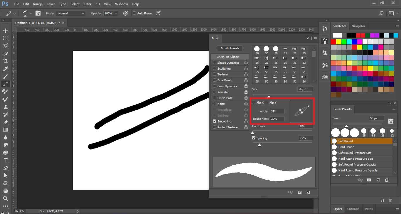 brush ها در فتوشاپ , roundness & angles